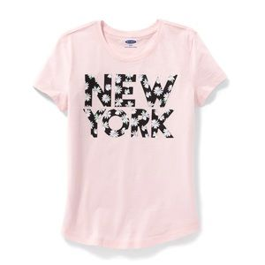 """NWT Pink """"New York"""" T-Shirt Top Size L(10-12)"""